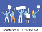 protest. people holding... | Shutterstock .eps vector #1740151565