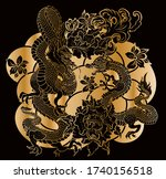 hand drawn dragon tattoo ... | Shutterstock .eps vector #1740156518