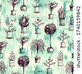houseplants seamless pattern.... | Shutterstock .eps vector #1740159842
