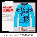 long sleeve t shirt design.... | Shutterstock .eps vector #174016652