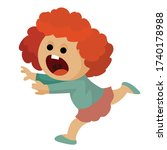girl is very scared and runs... | Shutterstock .eps vector #1740178988