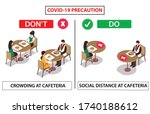social distance at cafeteria... | Shutterstock .eps vector #1740188612