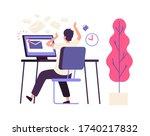 inefficient time management.... | Shutterstock .eps vector #1740217832