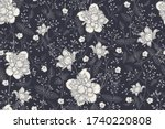 black and white floral seamless ... | Shutterstock .eps vector #1740220808