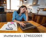 Stressed Business Woman Working ...