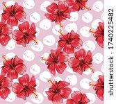 hibiscus flowers and trendy... | Shutterstock .eps vector #1740225482