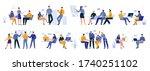 office work moments flat set... | Shutterstock .eps vector #1740251102