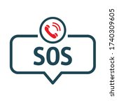 sos emergency call   speech...   Shutterstock .eps vector #1740309605