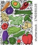 vector illustration vegan menu...   Shutterstock .eps vector #1740350135