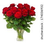 Stock photo bouquet of blossoming dark red roses in vase isolated on white background 174036932