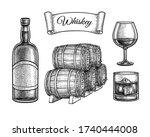 whiskey set. ink sketch... | Shutterstock .eps vector #1740444008