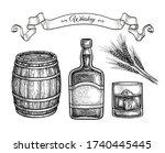 whiskey set. ink sketch... | Shutterstock .eps vector #1740445445