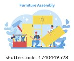 wood furniture assembly.... | Shutterstock .eps vector #1740449528