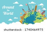 business travel with famous... | Shutterstock .eps vector #1740464975