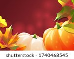 two ripe pumpkins on a red... | Shutterstock .eps vector #1740468545