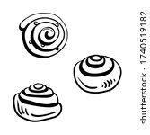 cinnamon and chelsea buns.... | Shutterstock .eps vector #1740519182