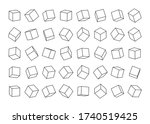 set of cubes from contour lines ... | Shutterstock .eps vector #1740519425