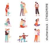 family embrace. happy parents... | Shutterstock .eps vector #1740609098