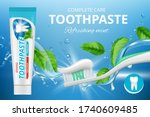 toothpaste ads. promotional... | Shutterstock .eps vector #1740609485
