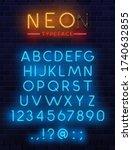 Neon Type Font  Glowing Vector...