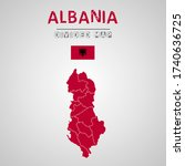 detailed map of albania with...   Shutterstock .eps vector #1740636725