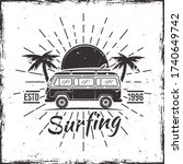 surfing bus with palms  sunset... | Shutterstock .eps vector #1740649742