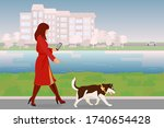 a girl with a smartphone walks...   Shutterstock .eps vector #1740654428