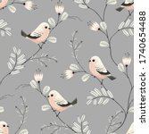 floral seamless pattern of... | Shutterstock .eps vector #1740654488