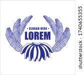 line art  banana leaf logo ... | Shutterstock .eps vector #1740655355