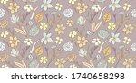 delicate flowery pattern....   Shutterstock .eps vector #1740658298