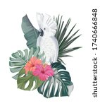 jungle summer print with parrot ...   Shutterstock .eps vector #1740666848