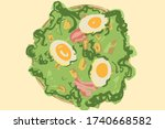 salad bowl with boiled egg some ...   Shutterstock .eps vector #1740668582