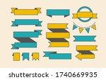 set of various ribbon scrolls.... | Shutterstock .eps vector #1740669935