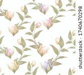 rose seamless pattern vector...   Shutterstock .eps vector #1740670298