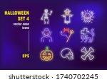 halloween party neon signs set. ... | Shutterstock .eps vector #1740702245