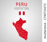 detailed map of peru with...   Shutterstock .eps vector #1740714272