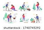 set of people working in the... | Shutterstock .eps vector #1740745292