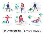 set of people working in the... | Shutterstock .eps vector #1740745298