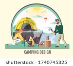 people camping in the wild... | Shutterstock .eps vector #1740745325
