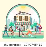 different people walking in the ... | Shutterstock .eps vector #1740745412