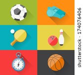 sport icons in flat design... | Shutterstock .eps vector #174076406