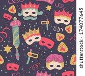 jewish holiday purim seamless... | Shutterstock .eps vector #174077645
