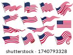 collection waving flags of the... | Shutterstock .eps vector #1740793328