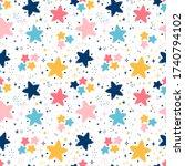 doodle cute star seamless... | Shutterstock .eps vector #1740794102