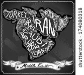 vintage arab map blackboard.... | Shutterstock . vector #174080318