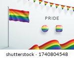 lgbt gay pride rainbow flag 3d... | Shutterstock .eps vector #1740804548
