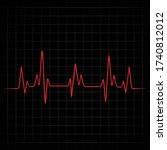 red heart rhythm and black... | Shutterstock .eps vector #1740812012