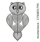 owl on isolated white. hand... | Shutterstock .eps vector #1740851795