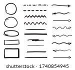 hand drawn elements. arrows.... | Shutterstock .eps vector #1740854945