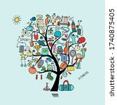 healthy lifestyle. concept tree ... | Shutterstock .eps vector #1740875405
